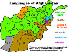 Približné rozdelenie jazykov v afganistane