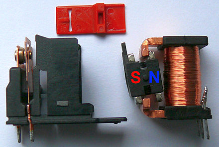 Latching relay with permanent magnet Latching relay bistable permanent magnet.jpg