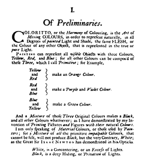 RYB color model - Le Blon's 1725 description of mixing red, yellow, and blue paints or printing inks