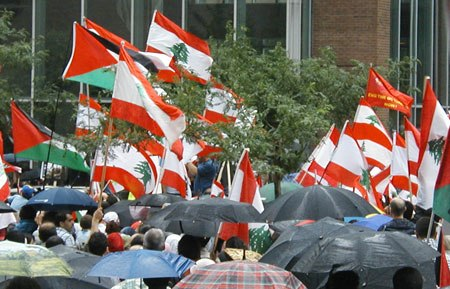 Lebanese flags at Montreal protest July 22 2006