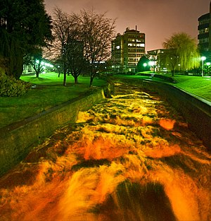 Dunedin North - The Water of Leith flowing through the University of Otago after heavy rain