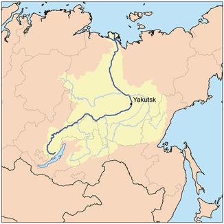 Verlauf der Lena im östlichen Sibirien