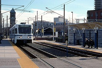 Mt. Royal (University of Baltimore/MICA) station - A train at Mount Royal station in 2000