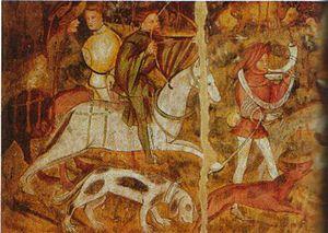 Limer - Medieval Huntsmen, showing a limer and its handler