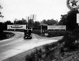 U.S. Route 1 in Pennsylvania - Lincoln Highway in Bucks County in 1922. This is now looking west on Woolston Drive with a ramp to the U.S. 1 freeway ahead; the underpass under the Trenton Cutoff is to the left.