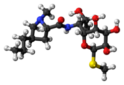 Ball-and-stick model of lincomycin