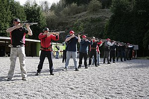 Gallery Rifle Shooting - A typical line of competitors shooting a Gallery Rifle event