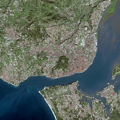 View of the Lisbon metropolitan area, with the Portuguese Riviera to the west of Lisbon and the Setubal Peninsula south of the Tagus River. Lisbon SPOT 1015.jpg
