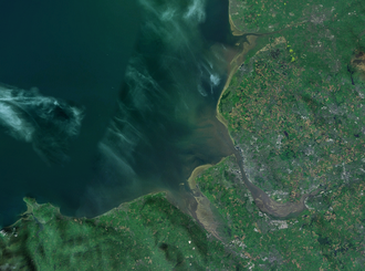Liverpool Bay - NASA Landsat images of Liverpool Bay, showing (clockwise) the Ribble, Mersey, Dee and River Clwyd.