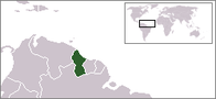 A map showing the location of Guyana