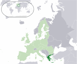 Location o the  Greece  (dark green)– on the European continent  (licht green & dark grey)– in the European Union  (licht green)