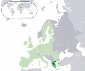 Euro gold and silver commemorative coins (Greece) - Image: Location Greece EU Europe