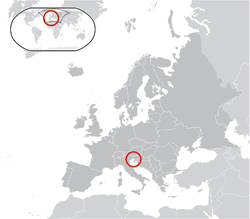 Location of  Free Territory of Trieste  (center of red circle)in Europe  (dark grey)
