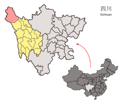 Location of Sêrxü County (red) within Garzê Prefecture (yellow) and Sichuan