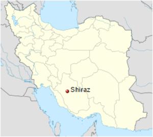 Shirazi salad - Location of Shiraz in Iran
