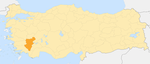 Shows the location of the province Denizli in ...