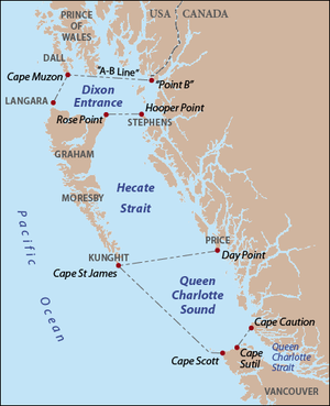 "Queen Charlotte Sound (Canada) - Queen Charlotte Sound as delineated by BCGNIS, along with Hecate Strait and Dixon Entrance. Red dots indicate capes and points, gray text indicates island names. The international boundary between Canada and the United States follows Portland Canal to ""Point B"", thence to Cape Muzon. The ""A-B Line"" portion of the boundary is disputed."