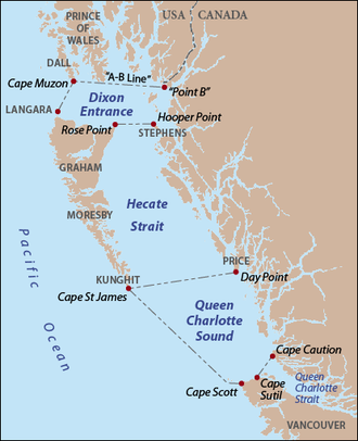 "Dixon Entrance - The Dixon Entrance as delineated by BCGNIS and the disputed ""A–B Line"", along with Hecate Strait and Queen Charlotte Sound. Red dots indicate capes and points, gray text indicates island names. The international boundary between Canada and the United States follows Portland Canal to ""Point B"", thence, according to Canada, to Cape Muzon. The purpose and significance of the ""A–B Line"" portion of the boundary are disputed."
