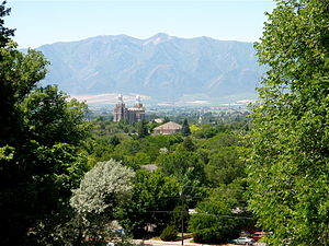 Logan, Utah - View over Logan and LDS Temple to the Wellsville Range