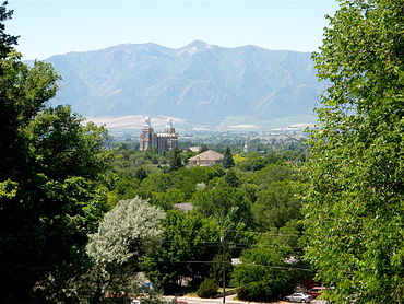 View over Logan and LDS Temple to the Wellsville Range