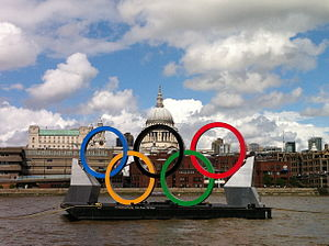 London during the Olympics- Rings have moved in front of St Paul's.jpg