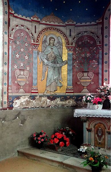 "St. Alban Church, Lormes, Nièvre, France. Chapel of the Virgin. Mural invoking prayer ""Tota pulchra es"""