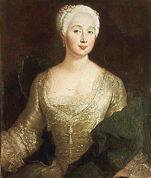 Luise Eleonore Wreech - Louise Eleonore von Wreech née. von Schöning (1707–1884), in a painting by Antoine Pesne in 1737