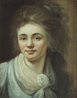 Ludovike Simanowiz - Self-portrait with Billowing Hair (1791)