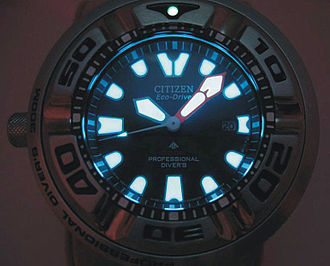 Super-LumiNova - Lume applied on a diver's watch to make it readable in low light conditions.