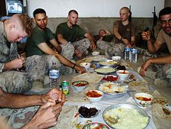 Soldiers having lunch during Operation Iraqi Freedom.