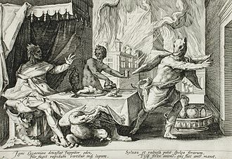 Lycaon of Arcadia - Zeus turning Lycaon into a wolf; engraving by Hendrik Goltzius.