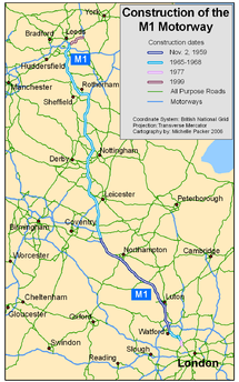 M1 Motorway Map M1 motorway   Wikipedia