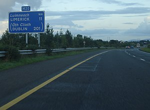 "N20 road (Ireland) - A ""Route Confirmatory Sign"" (Refer to Traffic Signs Manual Chapter 1 Clause 1.1.29) on the M20 showing distances to destinations"