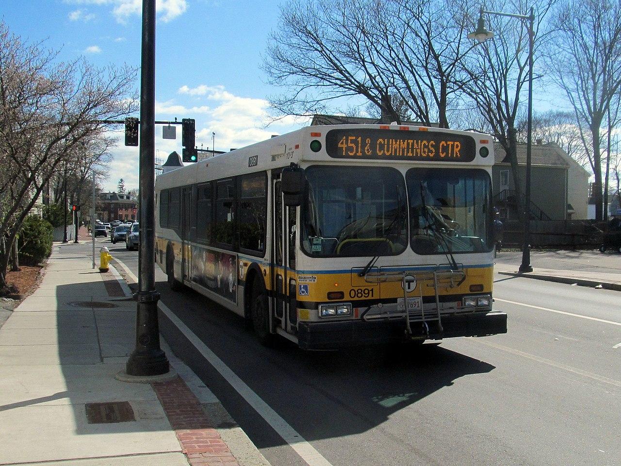 File Mbta Route 451 Bus On Bridge Street April 2015 Jpg