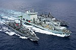 MV Asterix replenishes the frigates Almirante Lynch (FF-07) and INS Sahyadri (F49) off Hawaii on 28 July 2018 (180728-N-CW570-1105).JPG