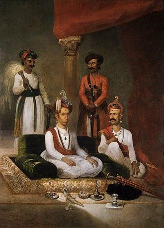 Nana Fadnavis - Madhav Rao Narayan, the Maratha Peshwa with Nana Fadnavis and Attendants