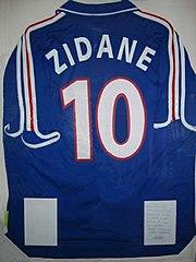 Maillot N°10 Zinédine Zidane encadré et dédicacé