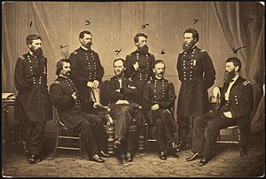 Old Abe - Sherman and his Generals: 1. O. O. Howard; 2. J. A. Logan; 3. W. B. Hazen; 4. W. T. Sherman; 5. J. C. Davis; 6. H. W. Slocum; 7. J. A. Mower; 8. F. P. Blair.