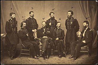 Old Abe - Sherman and his Generals: 1. O. O. Howard; 2. J. A. Logan; 3. W. B. Hazen; 4. W. T. Sherman; 5. J. C. Davis; 6. H. W. Slocum; 7. J. A. Mower; 8. F. P. Blair.