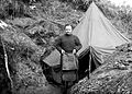 Major J.M. Adam outside his tent; WW2 Wellcome L0024974.jpg