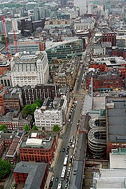 A view down Deansgate looking from the Beetham Tower.