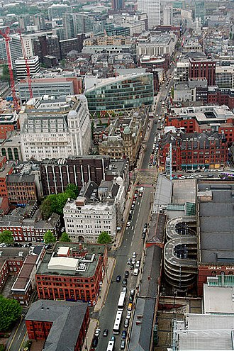 Deansgate - Aerial view of Deansgate from the Beetham Tower