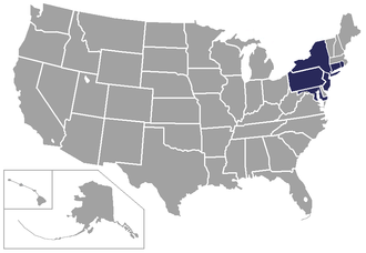 Northeast Conference - Image: Map NEC (Football)
