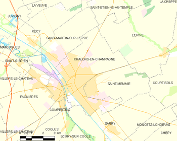Map of the commune of Châlons-en-Champagne