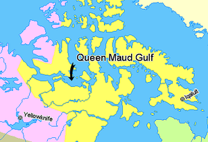 Queen Maud Gulf - Image: Map indicating Queen Maud Gulf, Nunavut, Canada