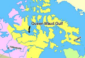 Queen Maud Gulf - Image: Map indicating Queen Maud Gulf, Nunavut, Canada