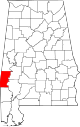 Map of Alabama highlighting Choctaw County.svg