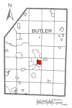 Map of Butler, Butler County, Pennsylvania Highlighted.png