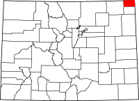 Map of Colorado highlighting Sedgwick County