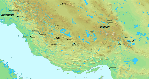 Map of Fars and its surrounding regions in the 9th-10th centuries Map of Fars and it's surrounding regions.png